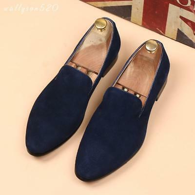 Mens Suede Leather Slip On Loafers pointy toe Casual dress Hairdresser Shoes