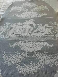 Atheliercortez Antico Prezioso Copriletto Filet Uncinetto Lino