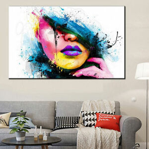 Modern-Abstract-Canvas-Wall-Art-Painted-Oil-Painting-Of-a-Woman-039-s-Face-No-Frame