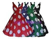Ladies 40's 1950's Vintage Retro Big Polka Dot Rockabilly Dress New Size 8 - 22