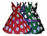 Ladies 40's 1950's Vintage Retro Big Polka Dot Rockabilly Dress Size 8 - 22