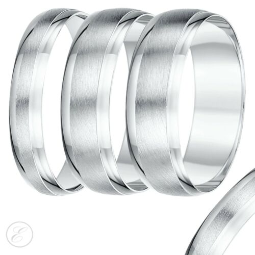 18ct White Gold  Wedding Ring Matt /& Polished Heavy Weight D Shape Designed Band