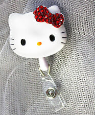 Bling Hello Kitty 45mm Retractable Reel ID Badge Holder_RED Bow 1pc