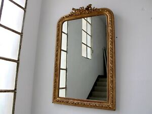 Antique-French-Empire-Tall-Ornate-Gilt-Overmantle-Mirror