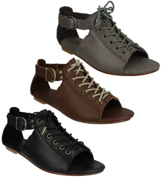 Abundante Mujer Meghan Zapatos De Cuero Peep Toe Plana Cordones Sandalias De Tiras Desigual En El Rendimiento