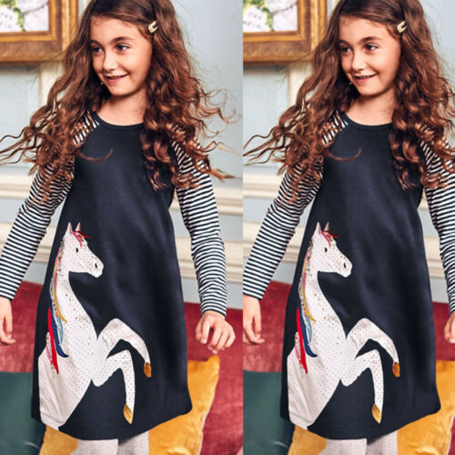 Infant Baby Girl Unicorn Long Sleeve Dress Kid Party Pageant Dresses Sundress CU