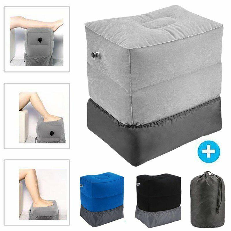 Soft Inflatable Travel Footrest w/Adjustable Height-Leg Rest