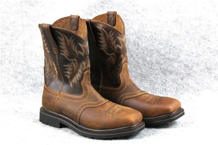 Ariat Work Men's Sierra Steel Toe Work Boot Wide Square Toe Brown Cowboy Western