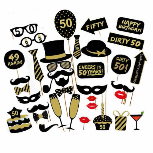 50-year-old Decorations Birthday Party Photo Booth Props Photograph Gifts Funny