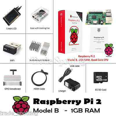 "Raspberry Pi 2 Ultimate Kit - Case with Fan+SD+Wifi+Breadboard+HD+5"" TFT LCD+RPI"