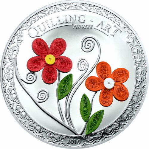 Cook 2016 Quilling Art Flower 2 Dollars Colour Silver Coin,Proof