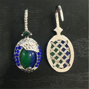 Women-Hook-925-Silver-Plated-Real-Blue-Opal-Sapphire-Ear-Hoop-Earrings-Wedding