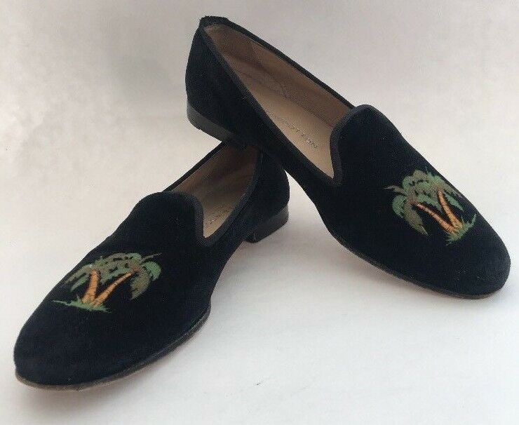 Stubbs & Wootton Womens 8 AA Black Velvet Palm Tree Slippers Loafers P Beach Lux