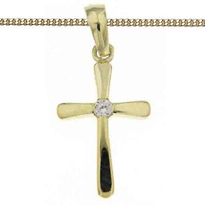 Echt Gold 333 Kinder Engel Kreuz Anhänger Taufe Kommunion mit Silber Kette verg.