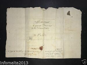 1690-Entire-Letter-to-Valletta-Malta-from-France-Pre-Adhesive-Postal-History
