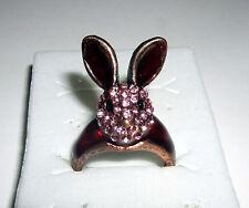 Bunny Ring Hase Rabbit Rockabilly Ohren Strass sweet Blingg!! Rosa