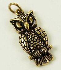 BRONZE OWL PENDANT WITH LEATHER NECKLACE & GIFT BOX