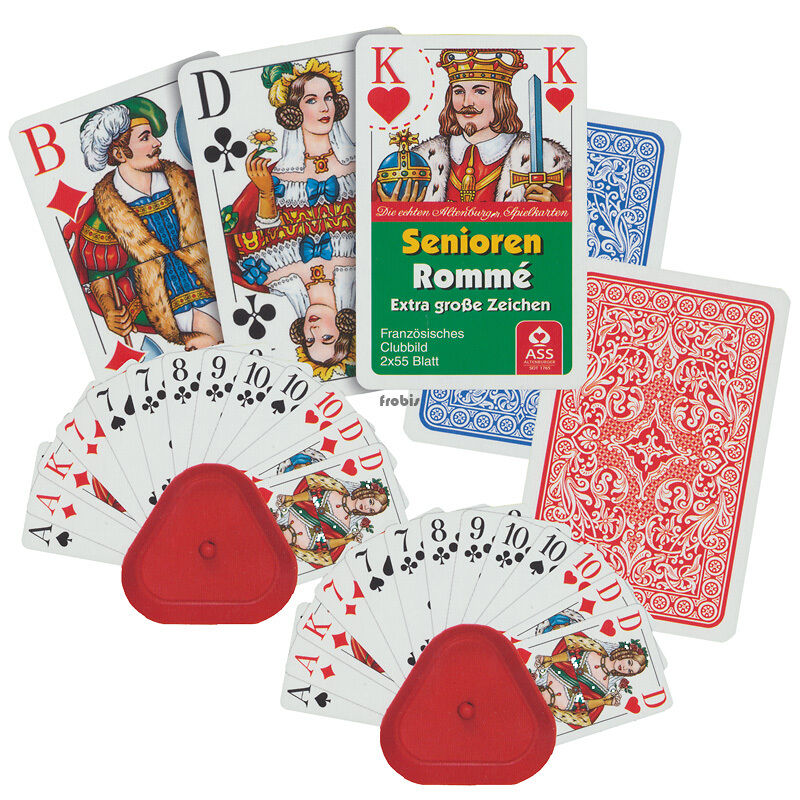 10 personnes âgées Romme Club Cartes Jeux Set avec 20 support de carte, Jeux De Frobis