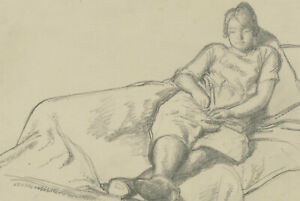 Harold Hope Read (1881-1959) - Graphite Drawing, Hilda Resting