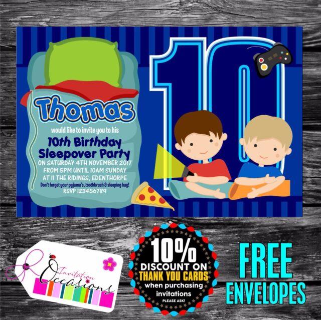 Personalised Boys Slumber Sleepover Party Invitations X 5 With