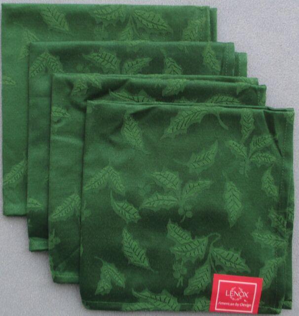 Set of FOUR Lenox Holiday Holly Damask Green Napkins NEW