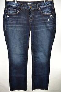 Silver-Jeans-Elyse-Slim-Boot-Womens-Dark-Wash-Sz-14-Bootcut-Meas-37x33-Distress