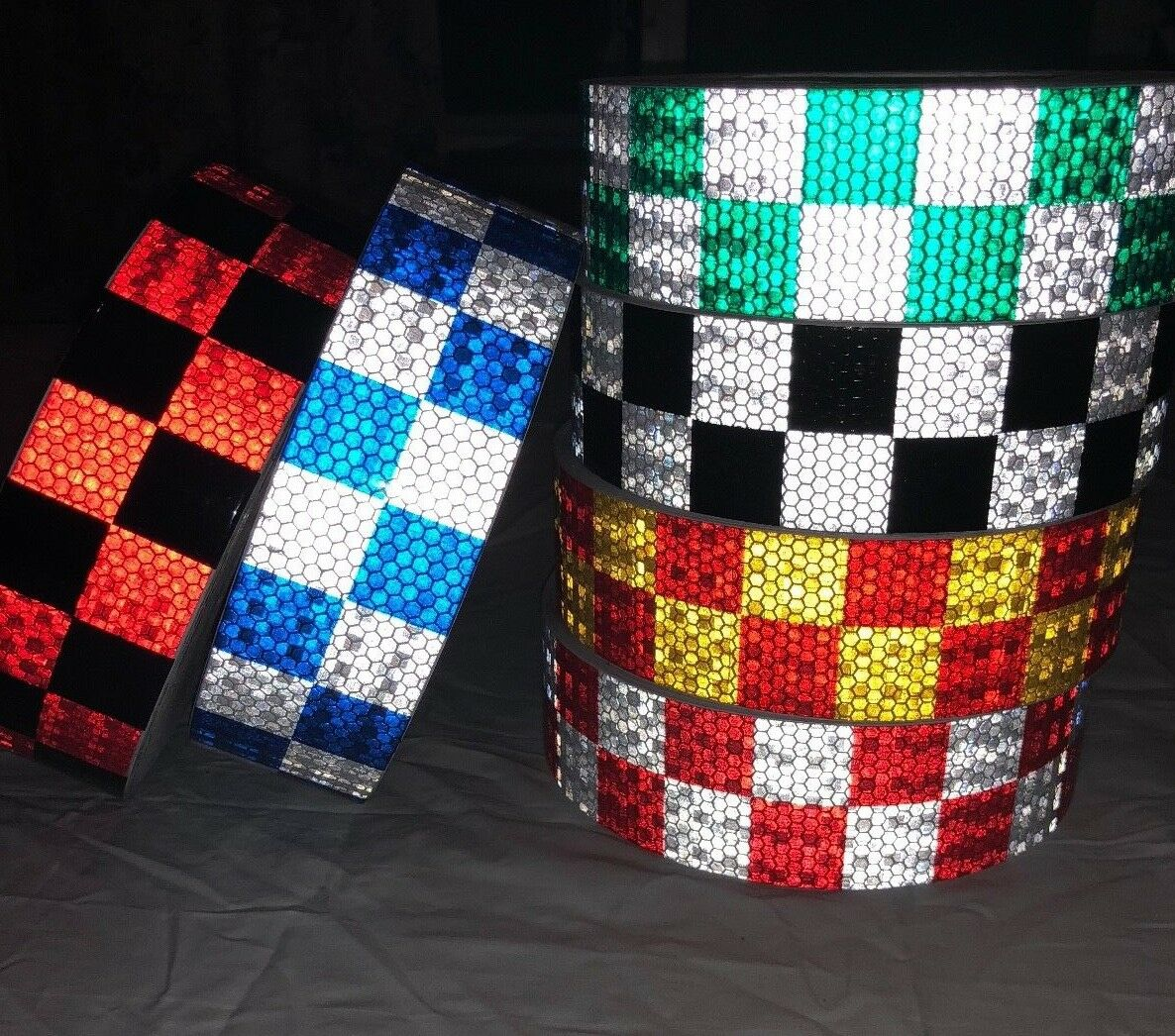 High Intensity Chequer Chequerot Safety DIY Reflective Tape Vinyl Self-Adhesive