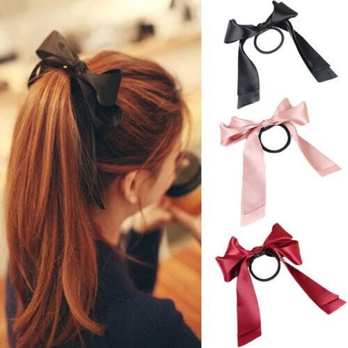 Neu Satin-Band Bow Bogen Haarband Clips Haarspange Pferdeschwanz-Halter M Gift