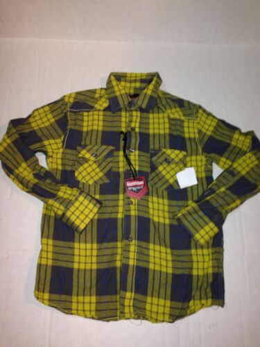 NEW NO RETREAT LONG SLV PLAID BUTTON UP BOYS L 12//14