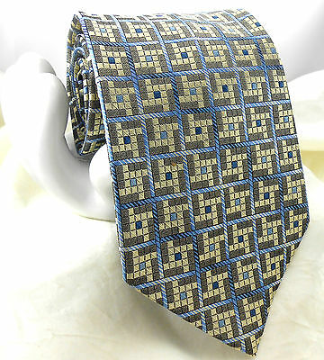 "Van Heusen Men's Silk Tie Light Yellow Gray & Blue Small Check 3 7/8""x 59"""