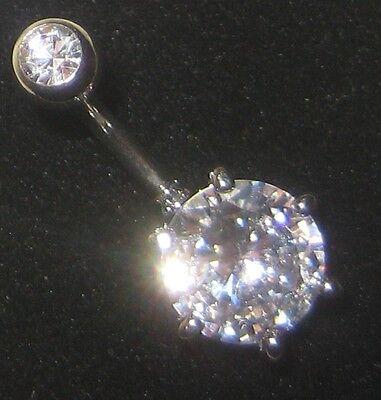 TITANIUM GRADE 5 BAR Clear Crystal Double Gem Belly 6mm 8mm 10mm 12mm 14mm