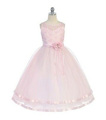 Pink Pearl Flower Embroidered Bodice Multiple Layered Organza Girl Dress Junior
