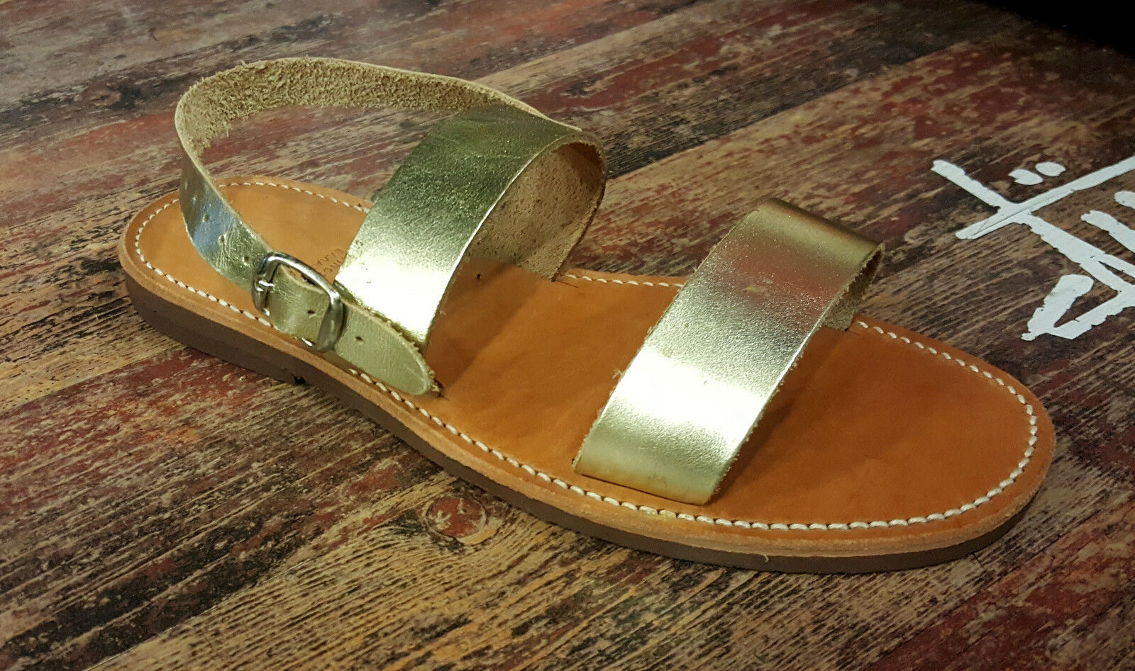 Handmade Leather Sandals Greek Style Production Simple New Design Ancient Style Greek Gold d3bc33
