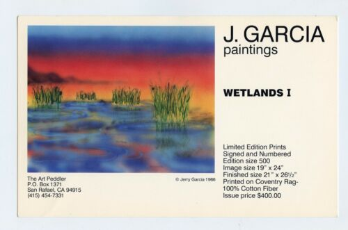 Jerry Garcia Postcard Painting WETLANDS I Promo 1986