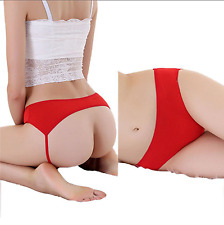 Kinky Open Butt Thong Panties Sexy Backless Lingerie Underwear Briefs Red 6-10