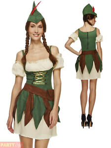 bb8652334fc Details about Ladies Sexy Robin Hood Costume Adults Fever Medieval Warrior  Fancy Dress Womens