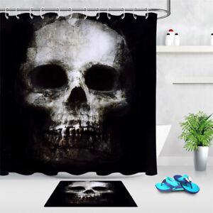 Creepy Halloween Skulls and Bones Fabric Shower Curtain Set Bathroom Decor 180cm