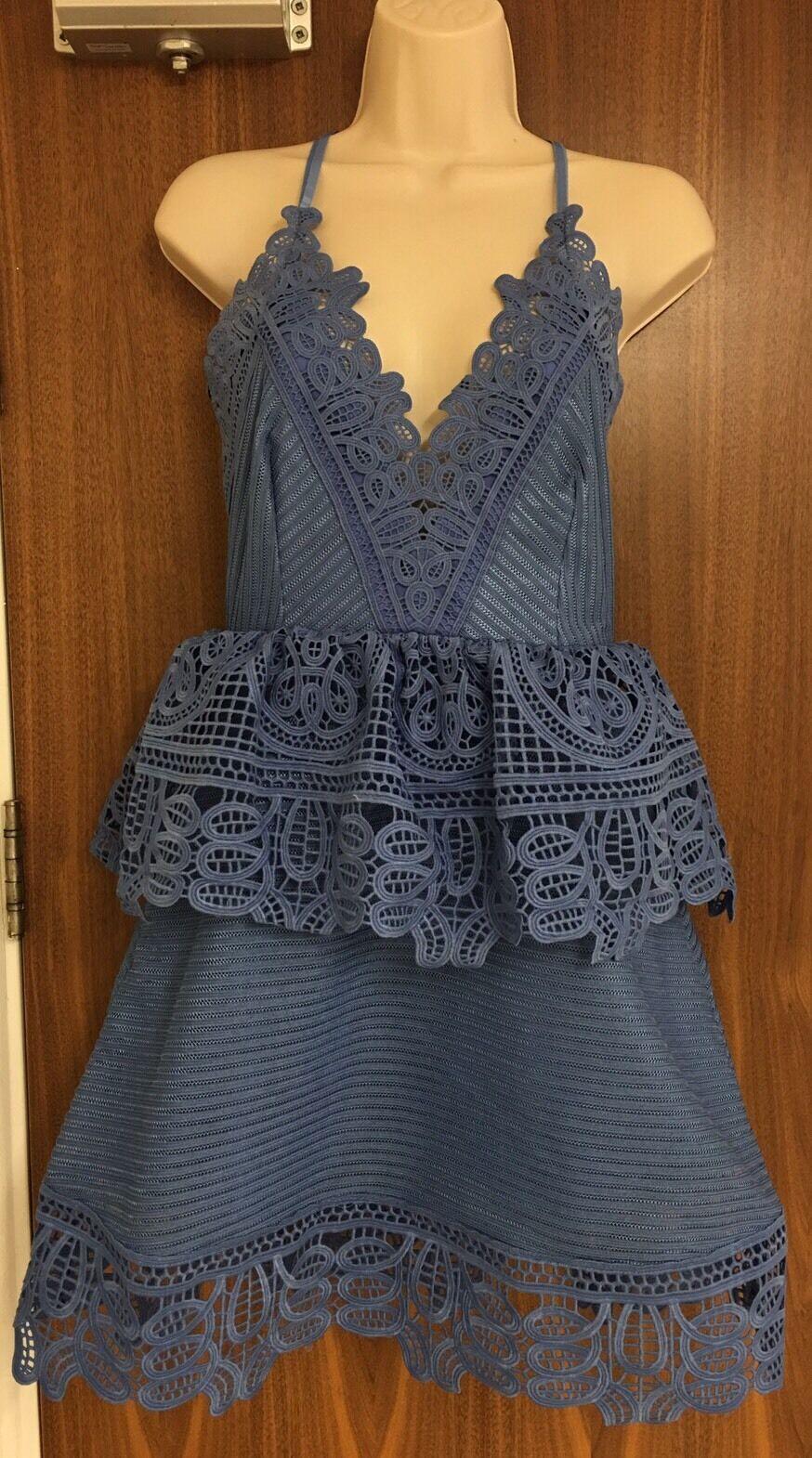 SELF-PORTRAIT Lace Trimmed Peplum Dress Größe UK 14