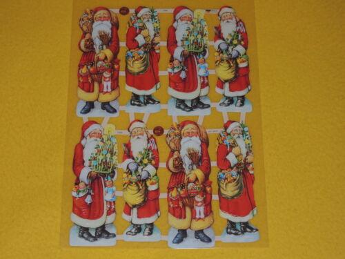 1x Poesiebilder Oblaten Weihnachtsmänner 084 GLanzbilder Weihnachten