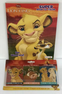 Set-Of-2-Disney-s-The-Lion-King-Super-Coloring-amp-Activity-Book-Crayons-Simba
