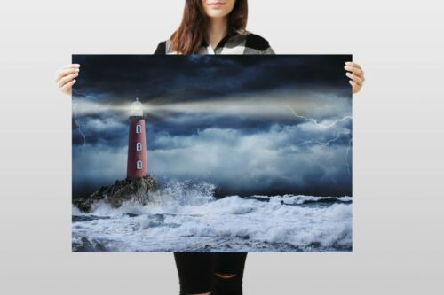 A1Stormy Lighthouse Poster Art Print 60 x 90cm 180gsm Weather Sea Gift #12312