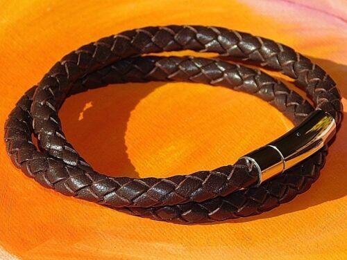 Para Hombre//Damas 6mm Marrón Cuero Trenzado /& Pulsera De Acero Inoxidable-Arte Lyme Bay