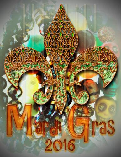 Mardi Gras// fleur de lis 2016//Poster//Print//2016//17x22 in//New Orleans