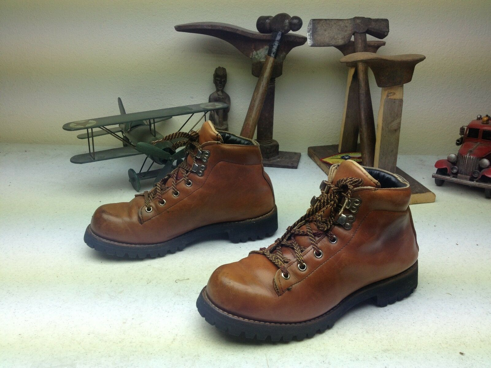 Vintage marrón lazada Montañismo Trail Boss botas 8 C