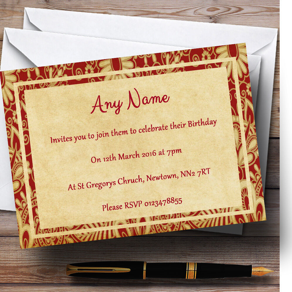 Vintage Royal rot Postcard Style Personalised Birthday Party Invitations