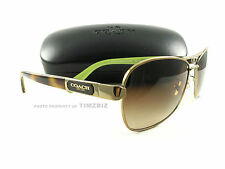 New Coach Sunglasses HC7012 Caroline Gold Tortoise Aviator 9100/13 Authentic