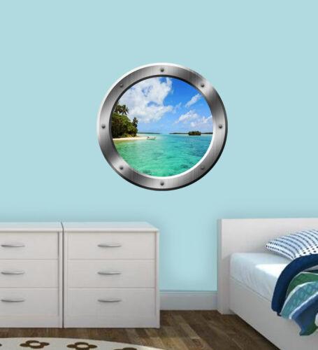 Beach Porthole Wall Decal 3D Window Nature Mural Peel And Stick Decor VWAQ-SP22