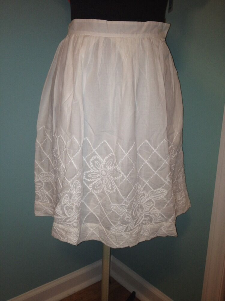 New  88 Anthropologie Floreat White Embroidered Skirt 6