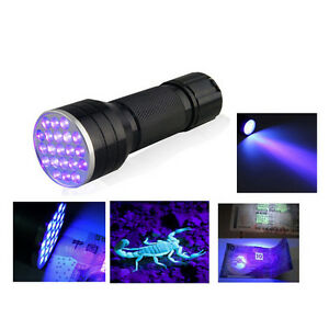 UV-Ultra-Violet-21-LED-Flashlight-Mini-Blacklight-Aluminum-Torch-Light-Lamp-BF