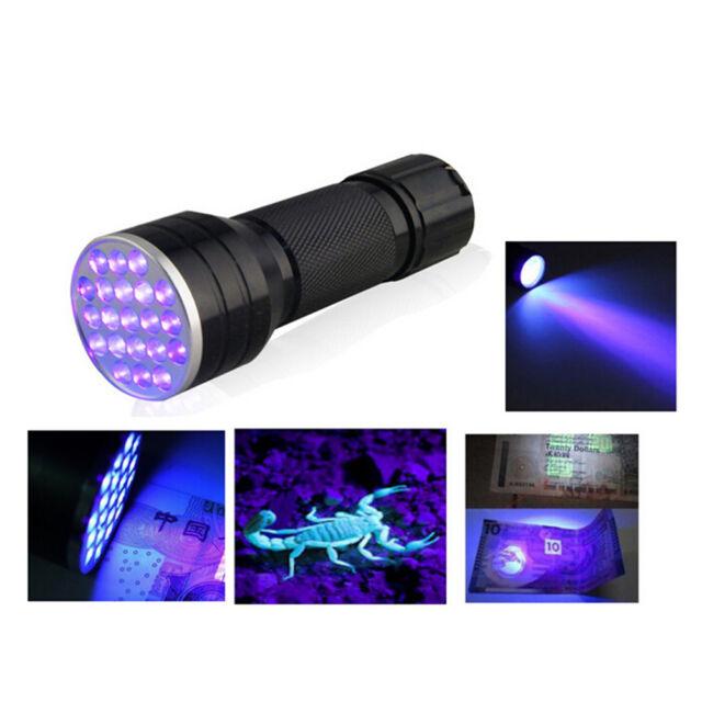 UV Ultra Violet 21 LED Flashlight Mini Blacklight Aluminum Torch Light Lamp X8 U